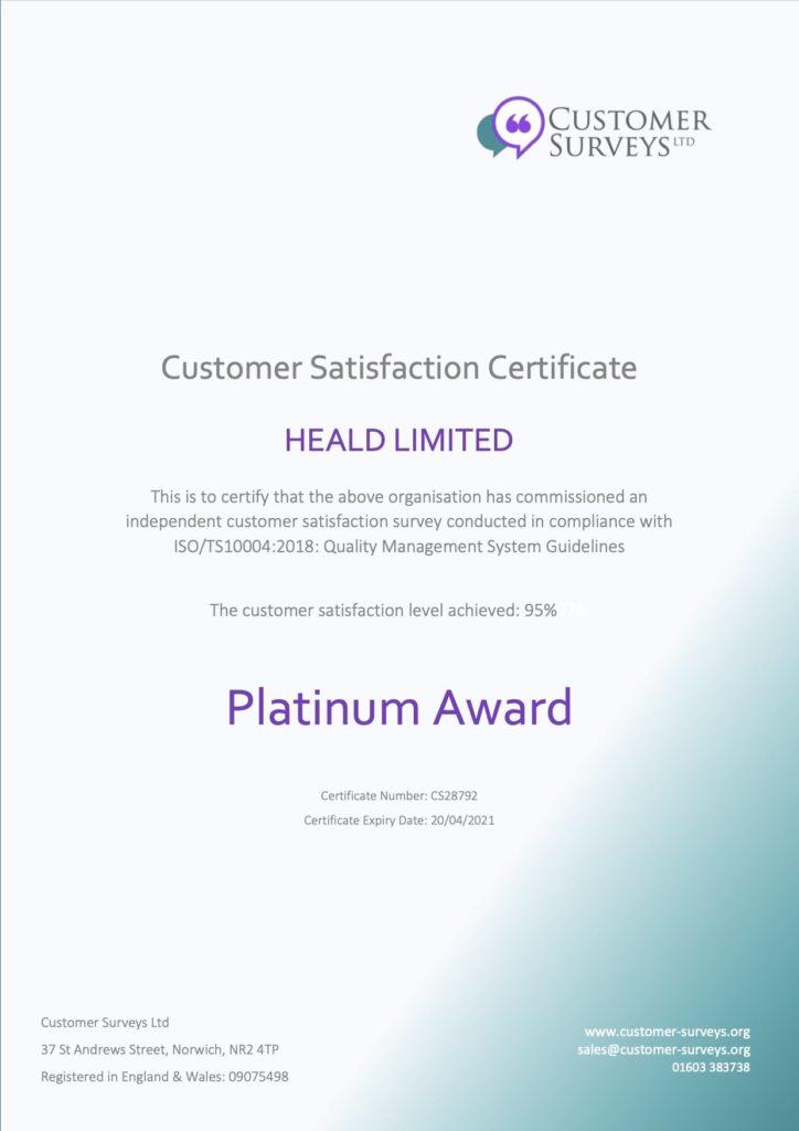 Heald Platinum Award for Customer Satisfaction 2020
